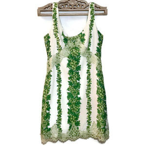 Tracy Reese Ivory & Green Floral Lace Dress